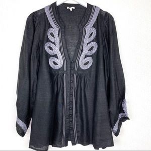 JOIE 100% Silk Black Gray Embroidered Tunic Sz Med